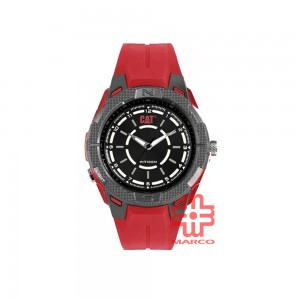 CAT 09 SERIES 09-180-28-121 RED RUBBER STRAP MEN WATCH