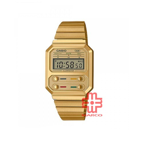 Casio General A100WEG-9A Gold Stainless Steel Band Youth Watch
