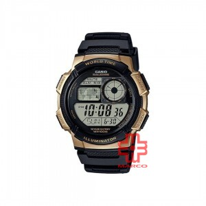 Casio General AE-1000W-1A3 Black Gold Resin Band Men Sports Watch