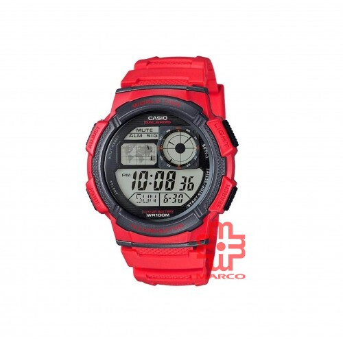 Casio General AE-1000W-4A Red Resin Band Men Sports Watch