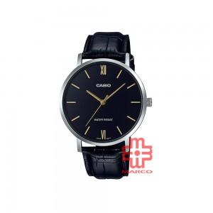 Casio General MTP-VT01L-1B Black Leather Band Men Watch