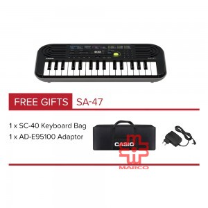 CASIO SA-47 Mini Keyboard 32 Mini Keys [ Free Adaptor + Keyboard Bag]