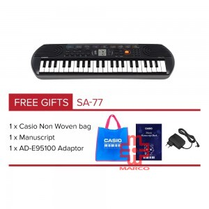CASIO SA-77 Mini Keyboard 44 Mini Keys [ Free Adaptor + Keyboard Bag]