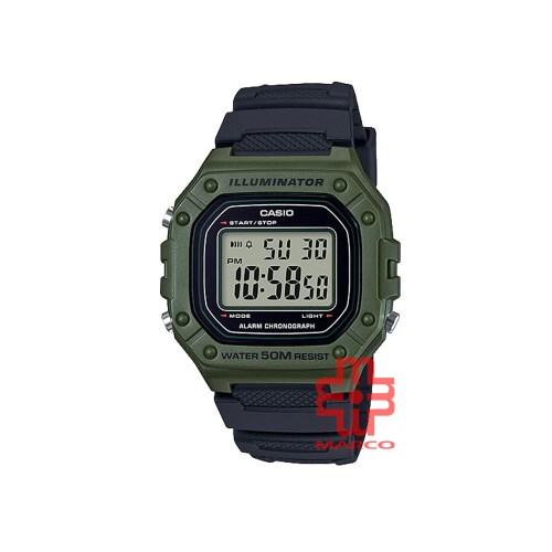 Casio General W-218H-3A Black Resin Band Men Youth Watch